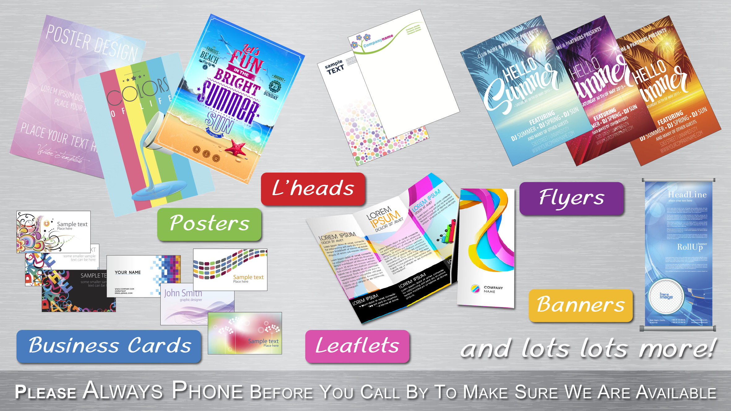 Catalogues certificates compliment slips a boards envelopes folders greeting cards invitations labels leaflets pvc banners magazines